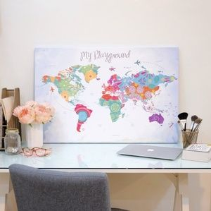 Pin My Travel world map graphic canvas print